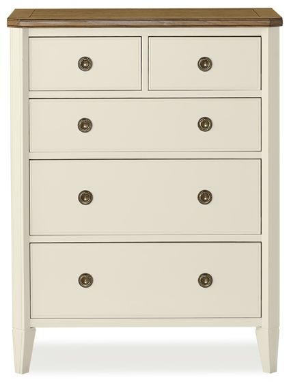 Clearance Bentley Designs Sophia Two Tone Chest of Drawer - 2+3 Drawer Tall