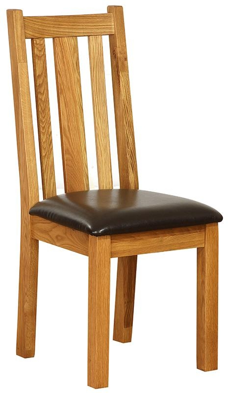 Vancouver Petite Oak Vertical Slats Dining Chair - with Chocolate Leather Seat (Pair)