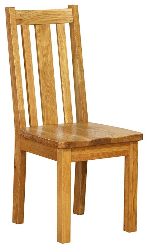 Vancouver Petite Oak Vertical Slats Dining Chair - with Timber Seat (Pair)