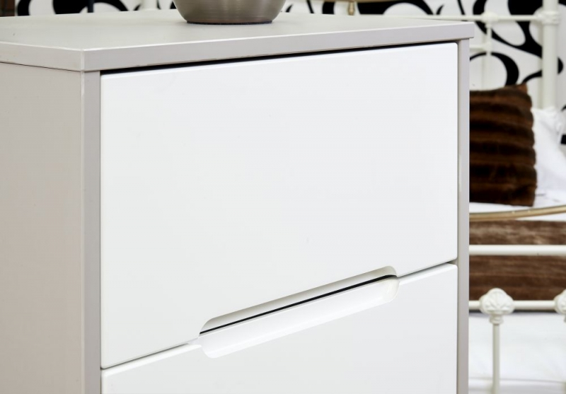Monaco White Matt Bedside Cabinet - 3 Drawer Locker