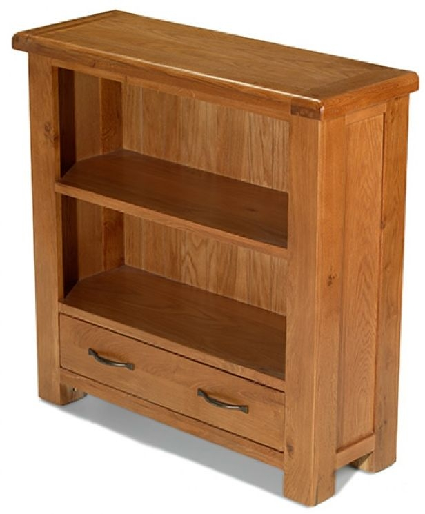 Arles Oak Low Bookcase with Drawer