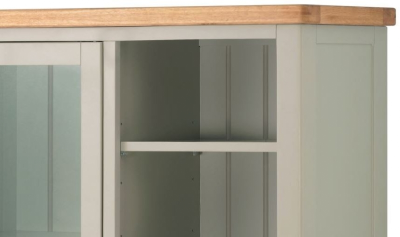 Portland Grand Combined Bookcase and Display - Oak and Stone Grey Painted