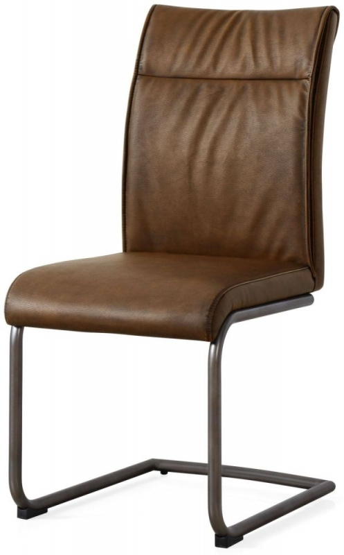 Industrial Faux Leather High Back Dining Chair (Pair)