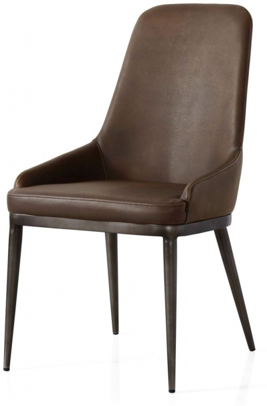 Industrial Faux Leather Retro Contour Dining Chair (Pair)