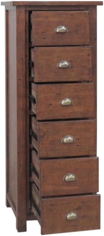 Driftwood Reclaimed Pine Chest of Drawer - 6 Drawer Tall