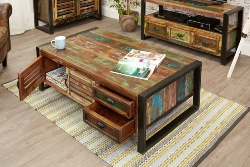 Baumhaus Urban Chic Reclaimed Wood 4 Door 4 Drawer Large Coffee Table