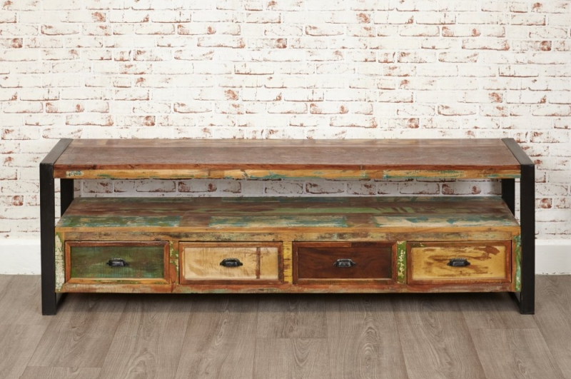 Baumhaus Urban Chic Reclaimed Wood Open Widescreen Television Cabinet