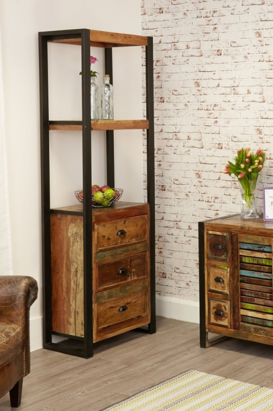 Baumhaus Urban Chic Reclaimed Wood Alcove Bookcase with Drawer