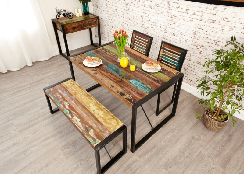 buy baumhaus urban chic reclaimed wood rectangular small dining set with 2 chairs and bench. Black Bedroom Furniture Sets. Home Design Ideas
