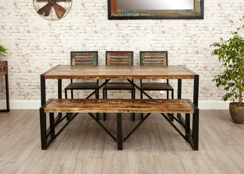 Baumhaus Urban Chic Large Dining Set with 4 Chairs and Bench