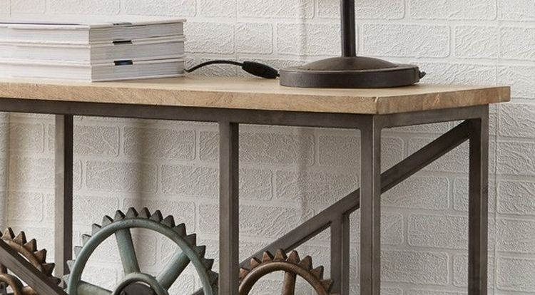 Indian Hub Evoke Iron and Wooden Industrial Console Table with Wheels