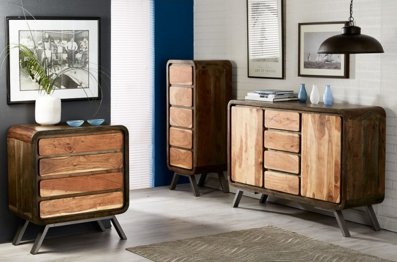 Indian Hub Aspen Iron and Wood 4 Drawer Chest