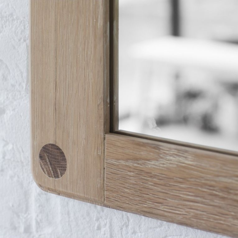 Hudson Living Wycombe Rectangular Wall Mirror - Oak 70cm x 100cm