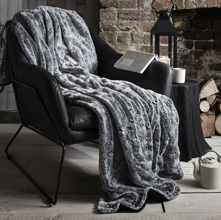 Gallery Direct Kilburn Fur Throw Silver