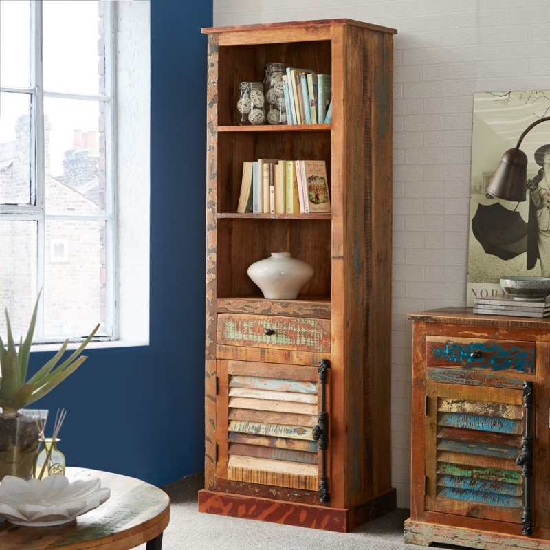 Indian Hub Coastal Reclaimed Wood Bookcase