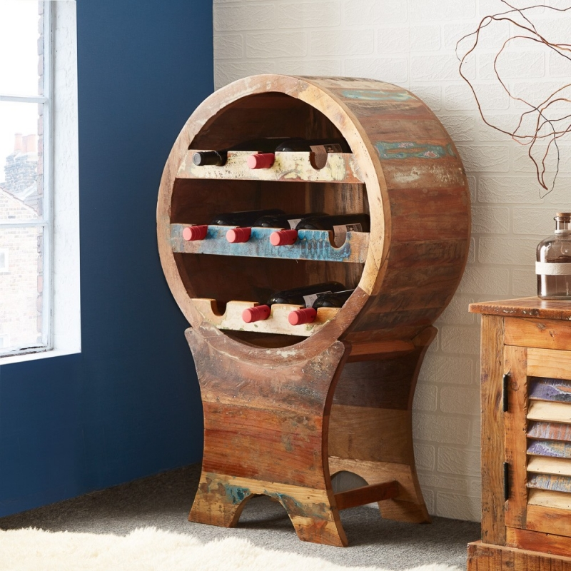 Indian Hub Coastal Reclaimed Wood Wine Cabinet