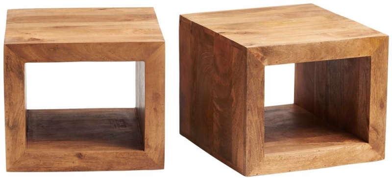 Indian Hub Toko Light Mango John Long Cubed Coffee Table Set