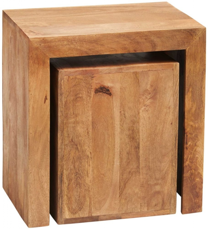 Indian Hub Toko Light Mango Cubed 2 Nest of Tables