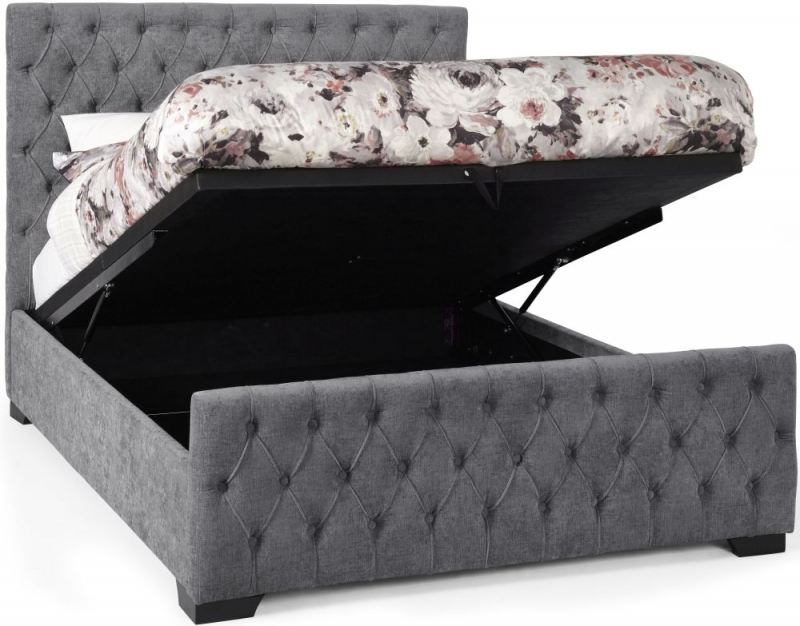 Serene Lillian Steel Fabric Ottoman Bed