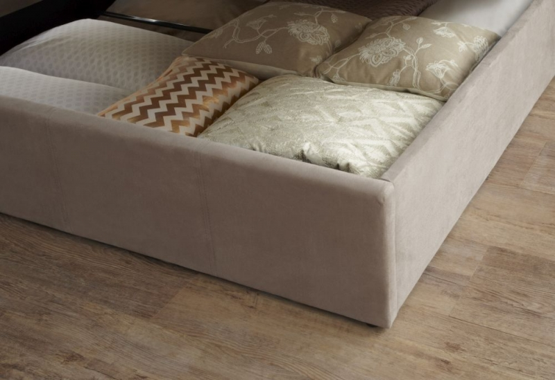 Serene Evelyn Latte Fabric Ottoman Bed