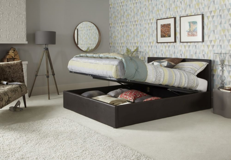Serene Tivoli Brown Leather Ottoman Bed