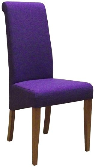Devonshire New Oak Purple Fabric Dining Chair (Pair)