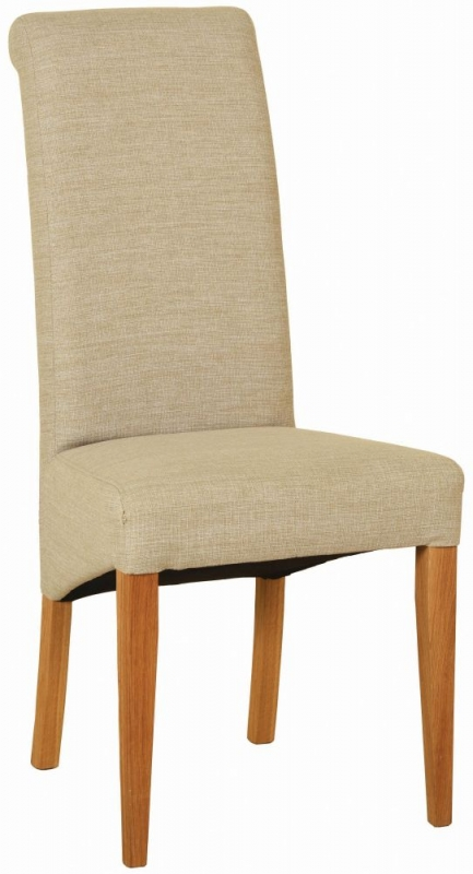 Devonshire New Oak Beige Fabric Dining Chair (Pair)