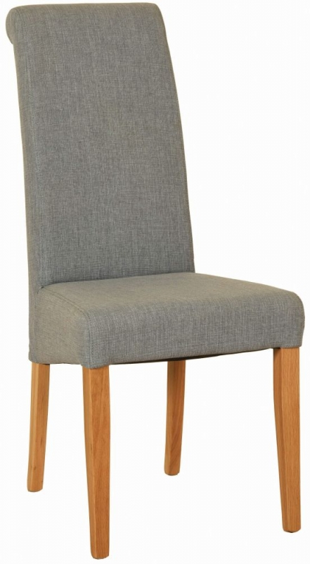 New Oak Light Grey Fabric Dining Chair (Pair)