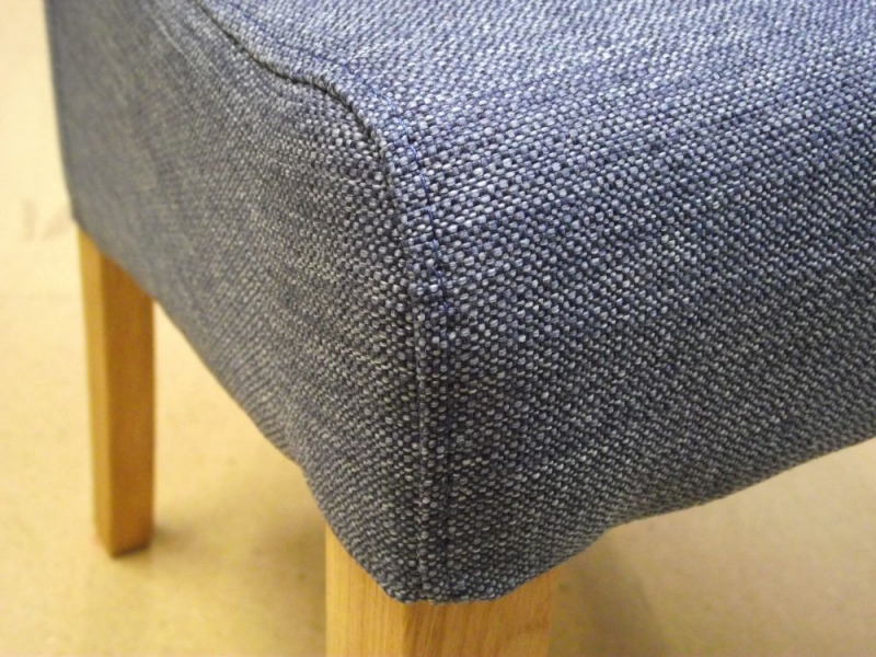 New Oak Blue Fabric Dining Chair (Pair)