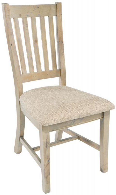 Rowico Saltash Slatted Back Dining Chair with Neutral Seat Pad (Pair)