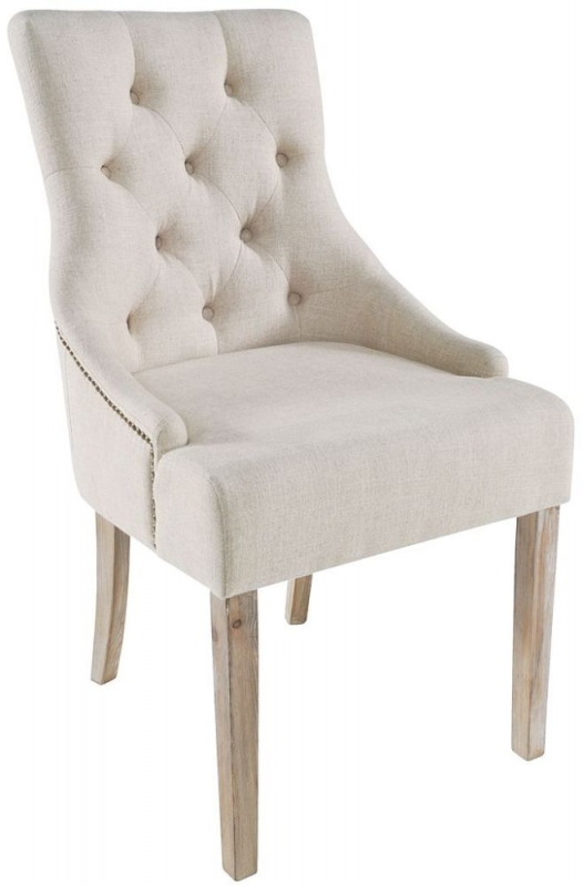 Rowico Stella Cream Fabric with Button Back Upholstered Dining Chair (Pair)