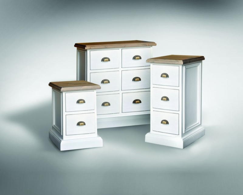 Rowico Lulworth White Brush 2 Drawer Bedside Cabinet