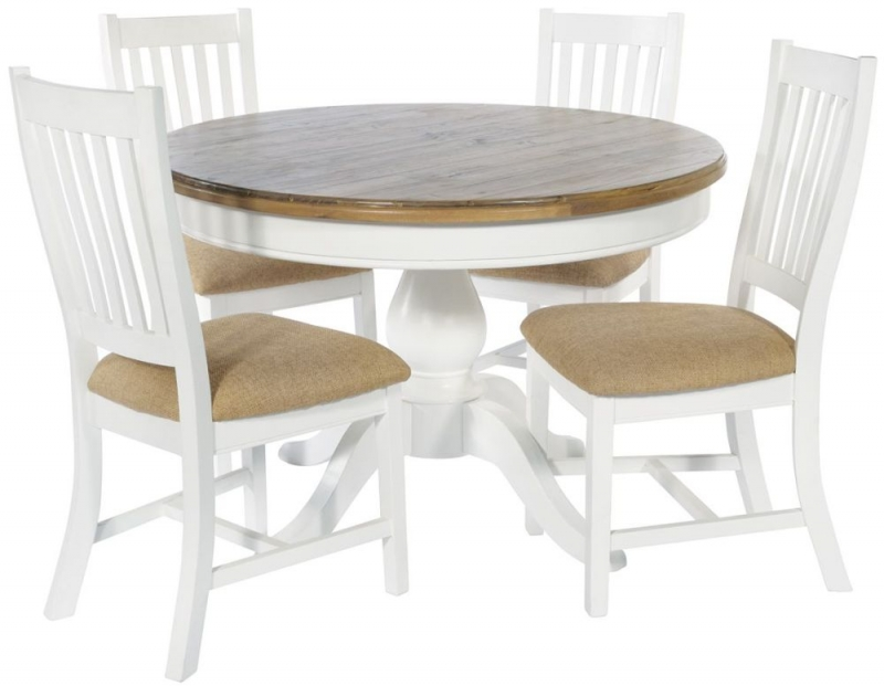 Ashmore White Brush Round Dining Table