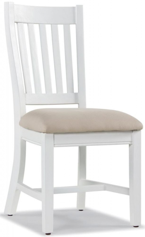 Ashmore White Brush Extending Dining Set with 4 Slatted Back Chairs with Cushion