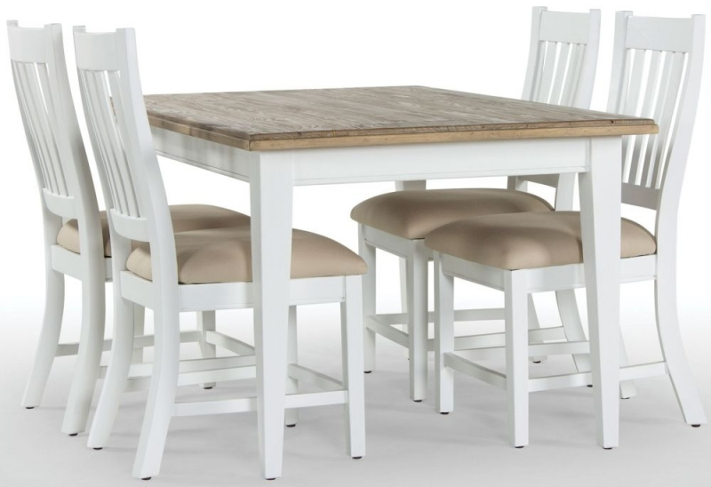 Rovico Walworth White Brush Extending Dining Set with 6 Slatted Back Chairs with Cushion
