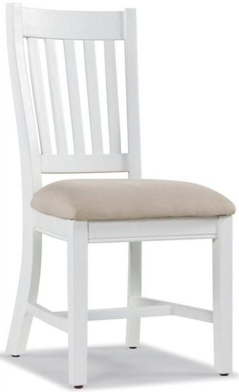Rowico Lulworth White Brush Round Dining Set with 4 Slatted Back Chairs with Cushion