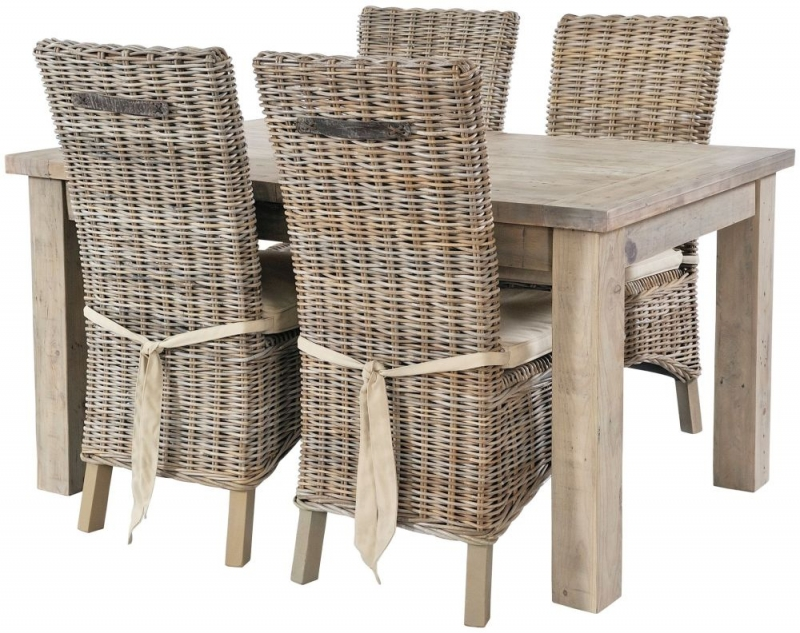 Rovico Altash Extending Dining Set with 6 Maya Grey Wash Chairs