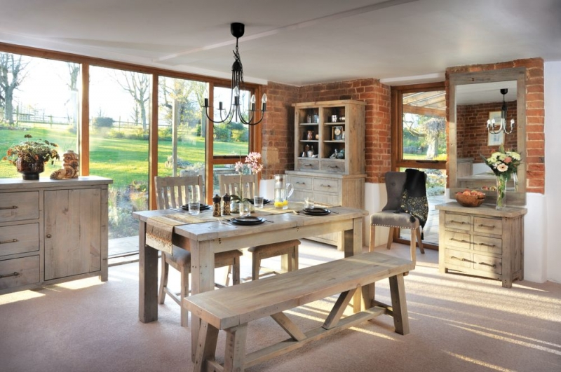 Rovico Altash Extending Dining Set with 4 Slatted Back Chairs