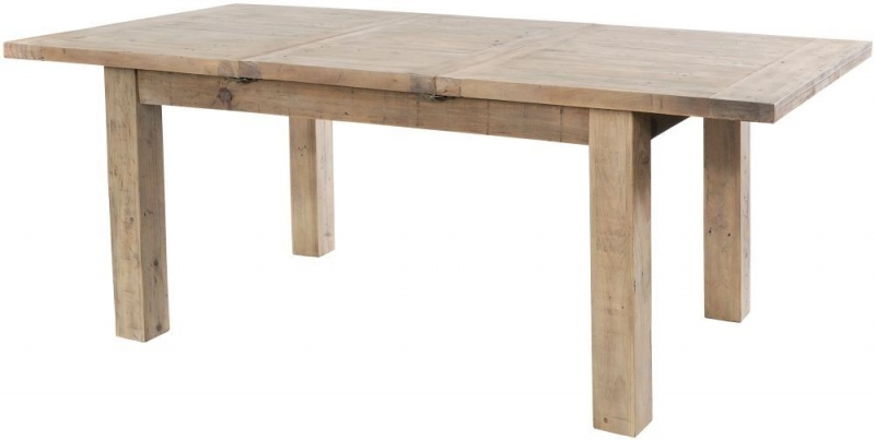 Rowico Saltash Reclaimed Pine 140cm-190cm Extending Dining Table and 4 Slatted Chairs