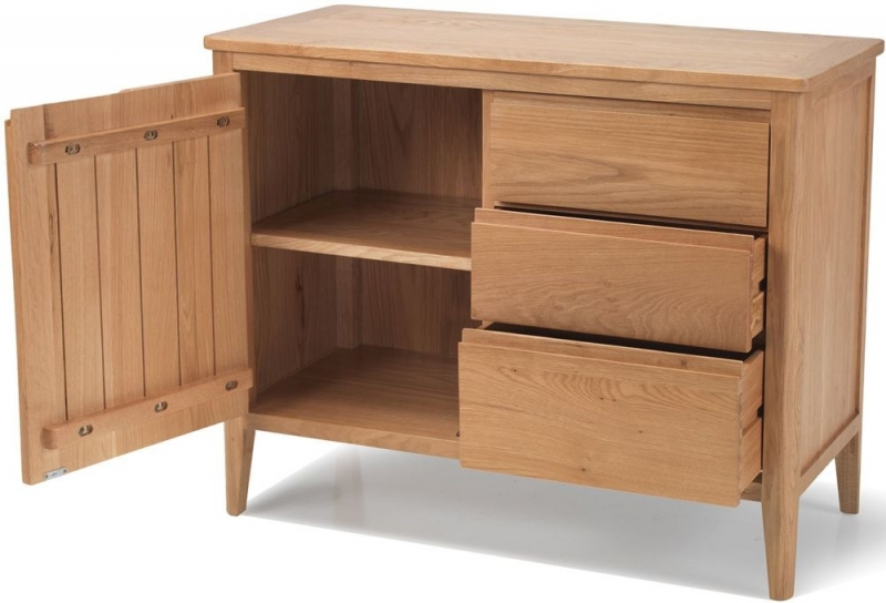 Asby Oak Small 1 Door 3 Drawer Sideboard