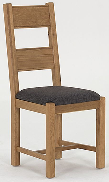 Vida Living Breeze Oak Dining Chair - Grey Seat Pad (Pair)