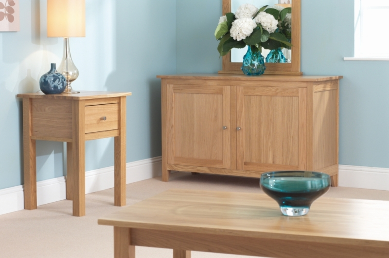 Corndell Nimbus Oak Lamp Table with Drawer