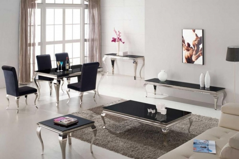 Vida Living Louis Black Glass Top Console Table