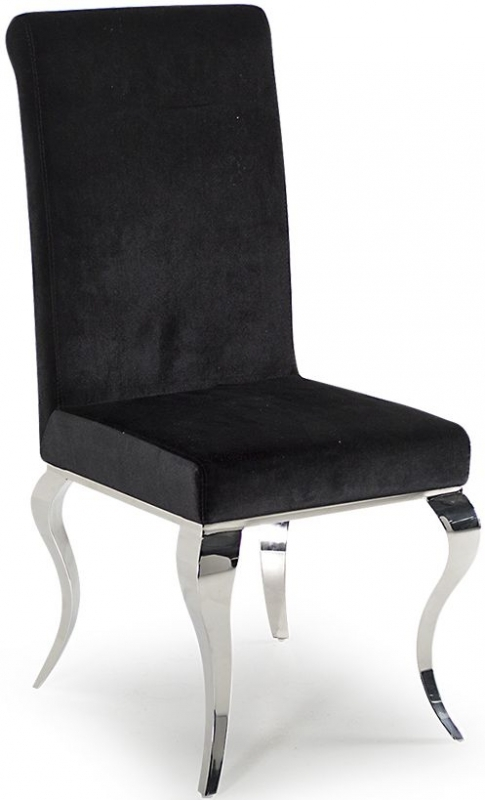 Vida Living Louis Black Glass Dining Table and Chairs - Chrome and Black Fabric