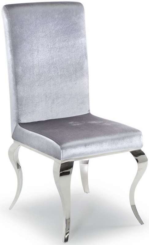 Vida Living Louis Glass Dining Table and Chairs - Chrome and Silver Fabric