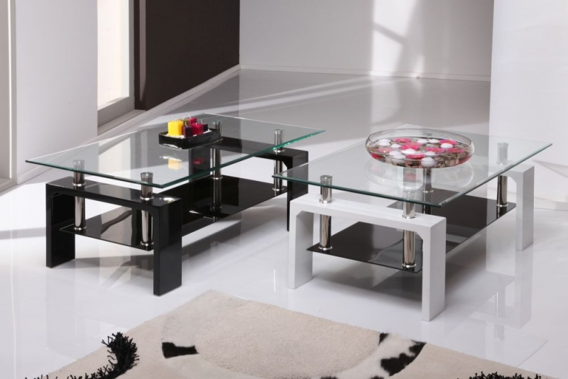 Vida Living Calico Glass Top White Coffee Table