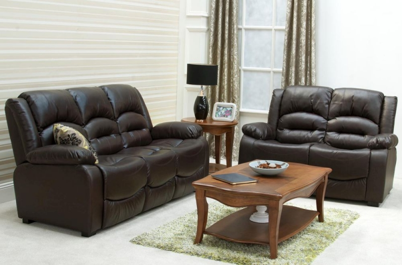 Vida Living Barletto 2 Seater Leather Fixed Sofa - Brown