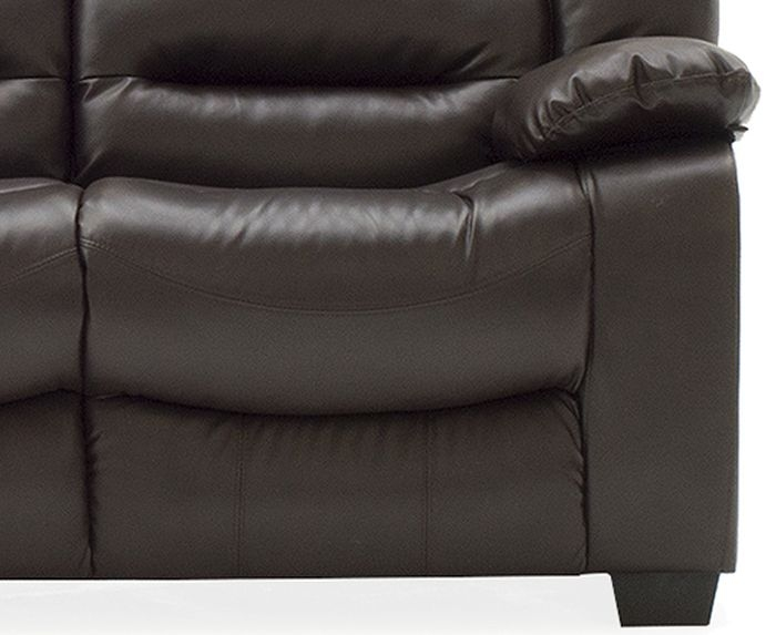 Vida Living Barletto Brown Faux Leather 3 Seater Fixed Sofa
