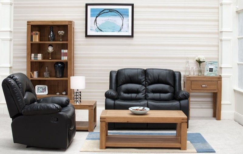 Vida Living Barletto Black Leather 2 Seater Fixed Sofa