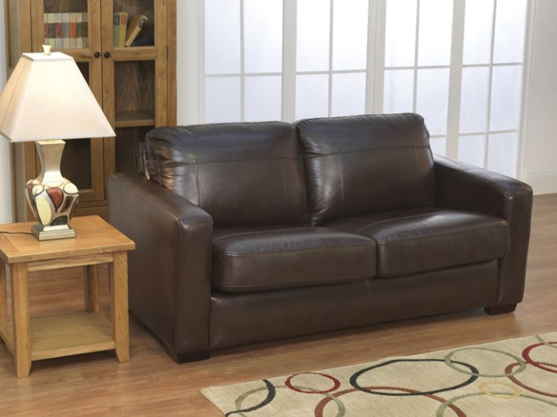 Vida Living Turin Faux Leather Sofa Bed - Chestnut Brown